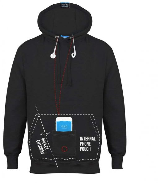 2. HOODIFY.ME - CUSTOM HOODIES SCREEN PRINTED DESIGNS FEATURING - POCKET CUTAWAY - INTERNAL PHONE POUCH POCKET - HIDDEN INNER CORD LOOPS