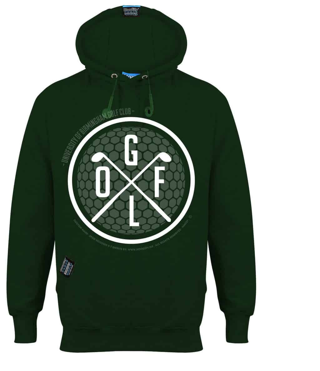 BIRMINGHAM GOLF - EARBUD HOOD - DARK FOREST GREEN - HOODIFY.ME - CUSTOM HOODIES SCREEN PRINTED DESIGNS FEATURING - HIDDEN EARBUD IPHONE MP3 POCKET - JPG