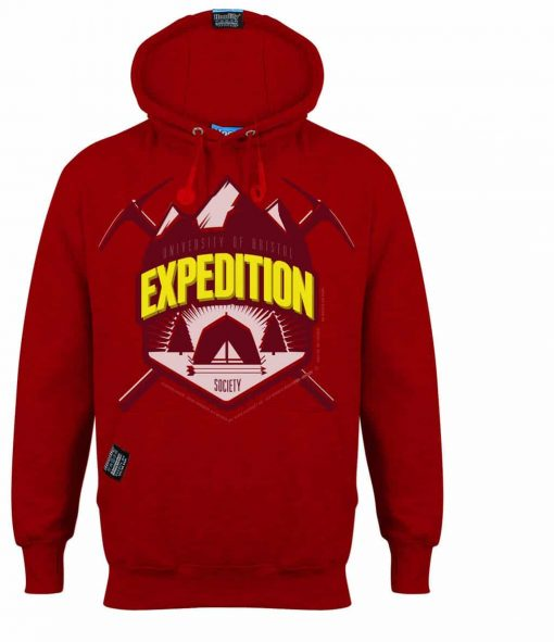 BRISTOL EXPEDITION - EARBUD HOOD - BRIGHT POSTBOX RED - HOODIFY.ME - CUSTOM HOODIES SCREEN PRINTED DESIGNS FEATURING - HIDDEN EARBUD IPHONE MP3 POCKET - JPG
