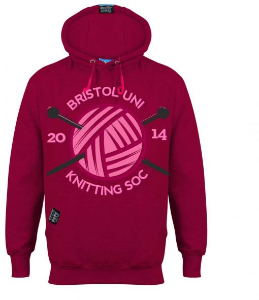 KNITTING BRISTOL - EARBUD HOOD - FUSCHIA BRIGHT PINK - HOODIFY.ME - CUSTOM HOODIES SCREEN PRINTED DESIGNS FEATURING - HIDDEN EARBUD IPHONE MP3 POCKET - JPG
