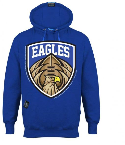 MANCHESTER EAGLES AMERICAN FOOTBALL - EARBUD HOOD - ROYAL BLUE - HOODIFY.ME - CUSTOM HOODIES SCREEN PRINTED DESIGNS FEATURING - HIDDEN EARBUD IPHONE MP3 POCKET - JPG