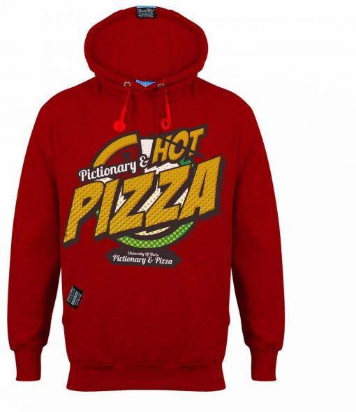 PIZZA - EARBUD HOOD - POSTBOX RED - HOODIFY.ME - CUSTOM HOODIES SCREEN PRINTED DESIGNS FEATURING - HIDDEN EARBUD IPHONE MP3 POCKET - JPG