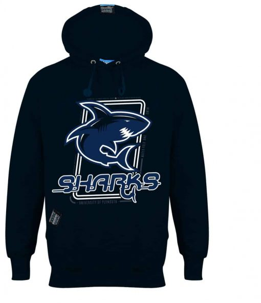 PLYMOUTH SHARKS - EARBUD HOOD - MIDNIGHT NAVY BLUE - HOODIFY.ME - CUSTOM HOODIES SCREEN PRINTED DESIGNS FEATURING - HIDDEN EARBUD IPHONE MP3 POCKET - JPG