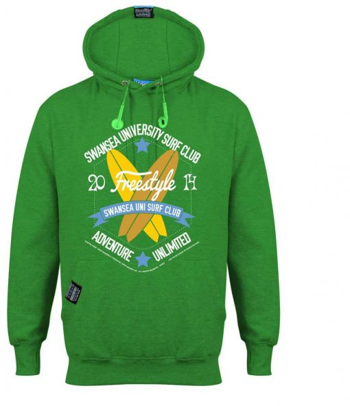 SWANSEA SURFER - EARBUD HOOD - BRIGHT KELLY GREEN - HOODIFY.ME - CUSTOM HOODIES SCREEN PRINTED DESIGNS FEATURING - HIDDEN EARBUD IPHONE MP3 POCKET - JPG