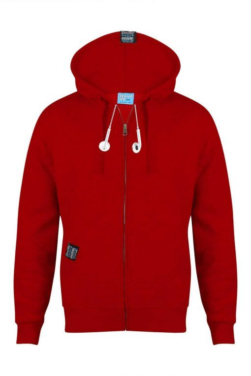 9. HOODIFY EARBUD CUSTOM MADE CUSTOM PRINTED ZIP-HOODIE - SMARTPHONE - IPOD - POCKET HOODIE - FRONT - IMG_7436 - POSTBOX RED (WITH EARBUDS)