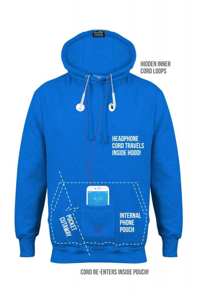9. HOODIFY CUSTOM EARBUD HOODIE INTERNAL POUCH DETAILS ELECTRIC BLUE