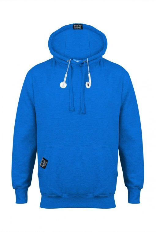 HOODIFY CUSTOM EARBUD HOODIE INTERNAL POUCH DETAILS ELECTRIC BLUE (WITH EARBUDS)