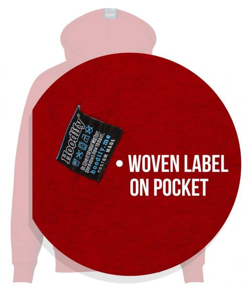 15. WOVEL LABEL ON POCKET ON HOODIFYME ZIP HOODIES ON ALL UNIVERSITY SOC STASH HOODIES (JUST ZIP-HOODIE) - ZIP HOODIE ALL PAGE IMAGES (RED) - POCKET LABEL (CALLOUTS)
