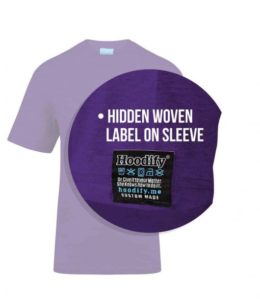 5. PURPLE - HOODIFY.ME - SCREEN PRINTED CUSTOM SCREEN PRINTED T-SHIRT - WITH FEATURING STAYTIGHT 1X1 RIB COLLAR WITH REVERSE HIDDEN CUSTOM WOVEN DAMASK LABEL ON SLEEVE (CALLOUTS)