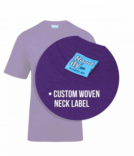 6. PURPLE - HOODIFY.ME - SCREEN PRINTED CUSTOM SCREEN PRINTED T-SHIRT - WITH FEATURING CUSTOM WOVEN DAMASK NECK LABEL IN NAPE OF NECK (CALLOUTS)