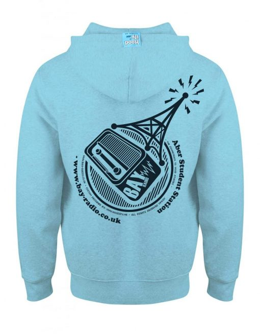ABER RADIO - EARBUD ZIP-HOOD (BACK) - SKY BLUE - HOODIFY.ME - CUSTOM HOODIES SCREEN PRINTED DESIGNS FEATURING - HIDDEN EARBUD IPHONE MP3 POCKET - JPG
