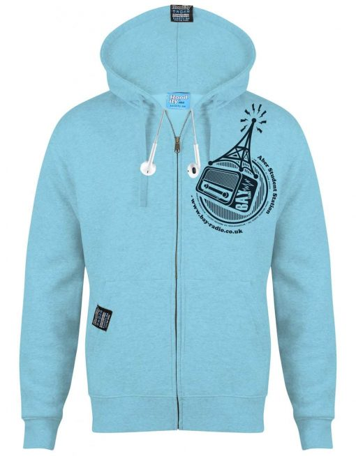 ABER RADIO - EARBUD ZIP-HOOD - (FRONT) - SKY BLUE - HOODIFY.ME - CUSTOM HOODIES SCREEN PRINTED DESIGNS FEATURING - HIDDEN EARBUD IPHONE MP3 POCKET - JPG