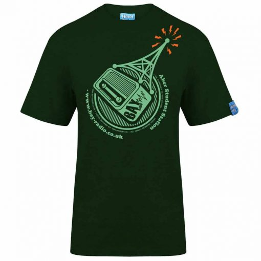 ABER RADIO - T-SHIRT - (FRONT) - FOREST GREEN - HOODIFY.ME - HEAVYWEIGHT TSHIRT RINGSPUN SUPASOFT SUPER SOFT COTTON STAYTIGHT NECK TUFFNECK SEAM FAIRTRADE T-SHIRT