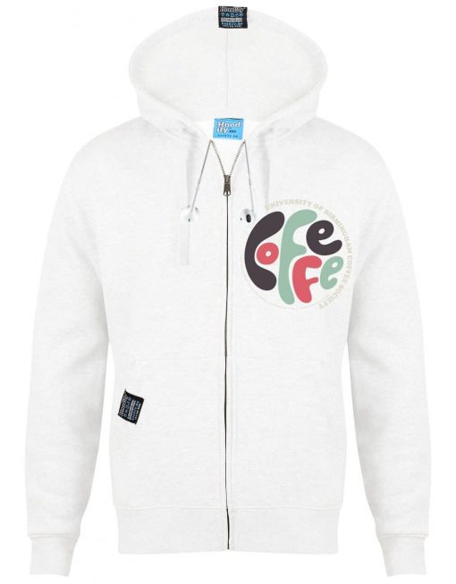 BIRMINGHAM COFFEE 1 - EARBUD ZIP-HOOD - (FRONT) - WHITE - HOODIFY.ME - CUSTOM HOODIES SCREEN PRINTED DESIGNS FEATURING - HIDDEN EARBUD IPHONE MP3 POCKET - JPG