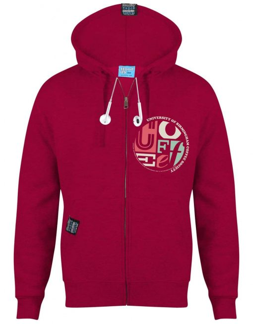 BIRMINGHAM COFFEE 2 - EARBUD ZIP-HOOD - (FRONT) - FUSCHIA - HOODIFY.ME - CUSTOM HOODIES SCREEN PRINTED DESIGNS FEATURING - HIDDEN EARBUD IPHONE MP3 POCKET - JPG
