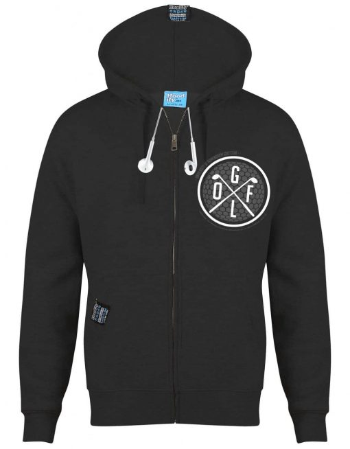 BIRMINGHAM GOLF - EARBUD ZIP-HOOD - (FRONT) - CHARCOAL - HOODIFY.ME - CUSTOM HOODIES SCREEN PRINTED DESIGNS FEATURING - HIDDEN EARBUD IPHONE MP3 POCKET - JPG