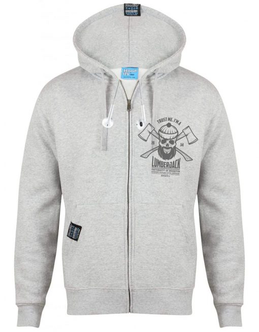 BRIGHTON LUMBERJACK - EARBUD ZIP-HOOD - (FRONT) - LIGHT MARL GREY - HOODIFY.ME - CUSTOM HOODIES SCREEN PRINTED DESIGNS FEATURING - HIDDEN EARBUD IPHONE MP3 POCKET - JPG