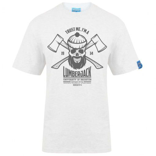BRIGHTON LUMBERJACK - T-SHIRT - (FRONT) - WHITE - HOODIFY.ME - HEAVYWEIGHT TSHIRT RINGSPUN SUPASOFT SUPER SOFT COTTON STAYTIGHT NECK TUFFNECK SEAM FAIRTRADE T-SHIRT