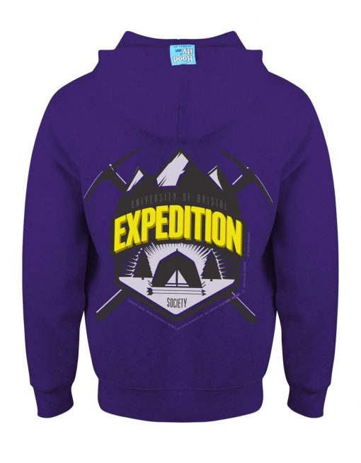 BRISTOL EXPEDITION - EARBUD ZIP-HOOD (BACK) - PURPLE - HOODIFY.ME - CUSTOM HOODIES SCREEN PRINTED DESIGNS FEATURING - HIDDEN EARBUD IPHONE MP3 POCKET - JPG