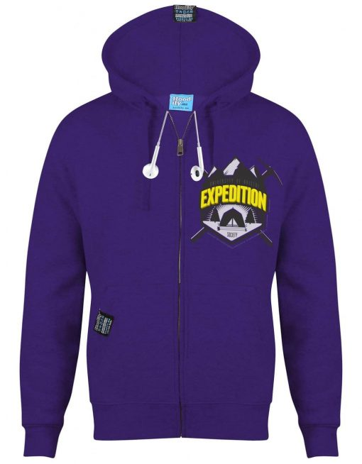 BRISTOL EXPEDITION - EARBUD ZIP-HOOD - (FRONT) - PURPLE - HOODIFY.ME - CUSTOM HOODIES SCREEN PRINTED DESIGNS FEATURING - HIDDEN EARBUD IPHONE MP3 POCKET - JPG