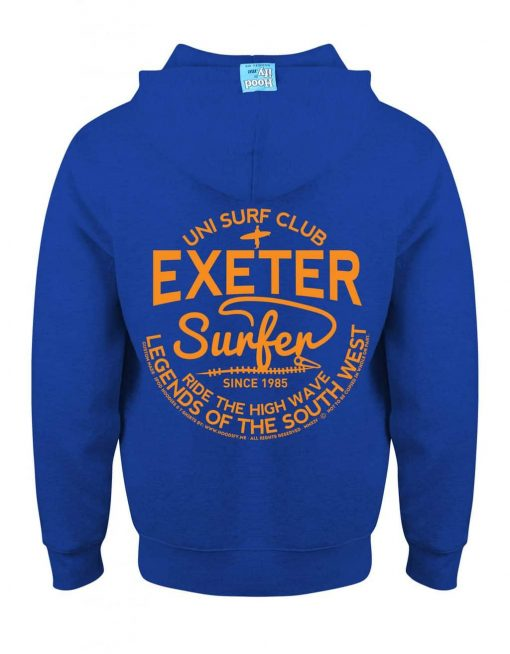 EXETER SURFER - EARBUD ZIP-HOOD (BACK) - ROYAL BLUE - HOODIFY.ME - CUSTOM HOODIES SCREEN PRINTED DESIGNS FEATURING - HIDDEN EARBUD IPHONE MP3 POCKET - JPG