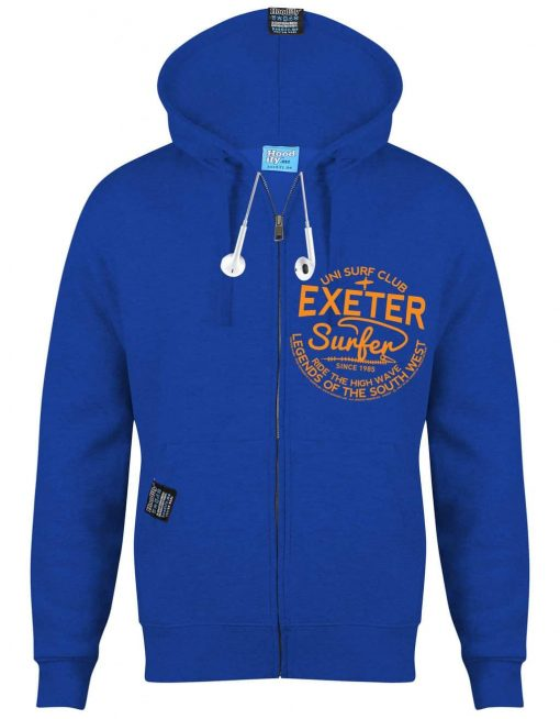 EXETER SURFER - EARBUD ZIP-HOOD - (FRONT) - ROYAL BLUE - HOODIFY.ME - CUSTOM HOODIES SCREEN PRINTED DESIGNS FEATURING - HIDDEN EARBUD IPHONE MP3 POCKET - JPG
