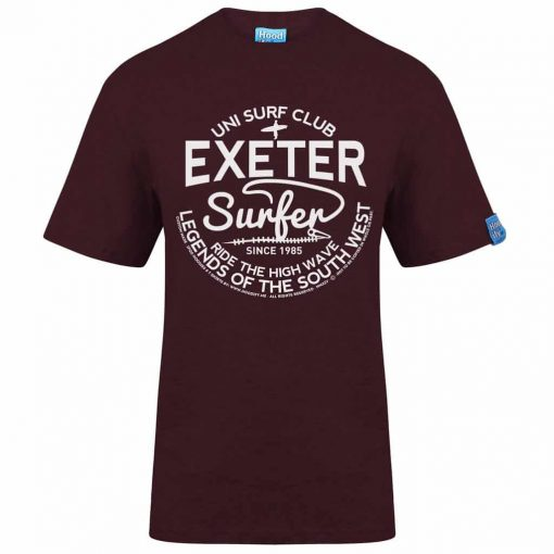 EXETER SURFER - T-SHIRT - (FRONT) - BURGUNDY - HOODIFY.ME - HEAVYWEIGHT TSHIRT RINGSPUN SUPASOFT SUPER SOFT COTTON STAYTIGHT NECK TUFFNECK SEAM FAIRTRADE T-SHIRT