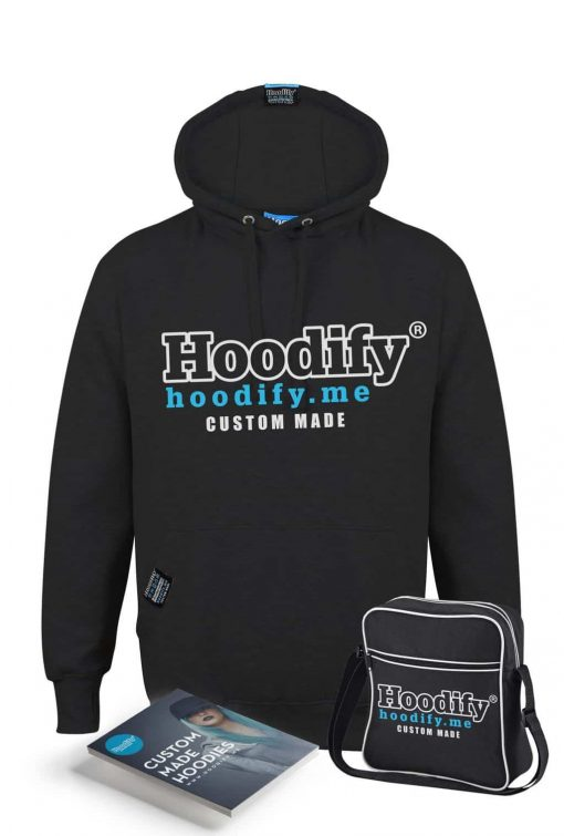 HOODIFY BECOME AN AGENT AND EARN - EARBUD HOODIE - BLACK - HOODIFY LOGO (WITH BAG AND FLYERS)