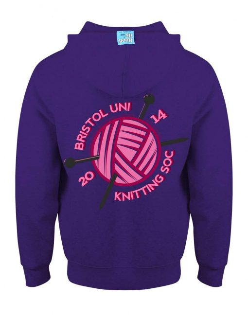KNITTING BRISTOL - EARBUD ZIP-HOOD (BACK) - PURPLE - HOODIFY.ME - CUSTOM HOODIES SCREEN PRINTED DESIGNS FEATURING - HIDDEN EARBUD IPHONE MP3 POCKET - JPG