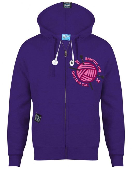 KNITTING BRISTOL - EARBUD ZIP-HOOD - (FRONT) - PURPLE - HOODIFY.ME - CUSTOM HOODIES SCREEN PRINTED DESIGNS FEATURING - HIDDEN EARBUD IPHONE MP3 POCKET - JPG