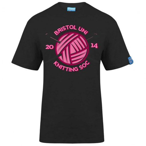 KNITTING BRISTOL - T-SHIRT - (FRONT) - PURPLE - HOODIFY.ME - HEAVYWEIGHT TSHIRT RINGSPUN SUPASOFT SUPER SOFT COTTON STAYTIGHT NECK TUFFNECK SEAM FAIRTRADE T-SHIRT