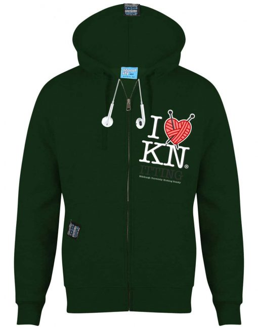 KNITTING EDINBURGH - EARBUD ZIP-HOOD - (FRONT) - FOREST GREEN - HOODIFY.ME - CUSTOM HOODIES SCREEN PRINTED DESIGNS FEATURING - HIDDEN EARBUD IPHONE MP3 POCKET - JPG