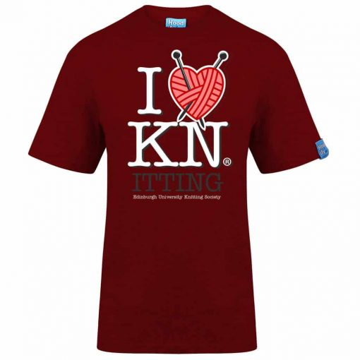 KNITTING EDINBURGH - T-SHIRT - (FRONT) - CHILLI RED - HOODIFY.ME - HEAVYWEIGHT TSHIRT RINGSPUN SUPASOFT SUPER SOFT COTTON STAYTIGHT NECK TUFFNECK SEAM FAIRTRADE T-SHIRT
