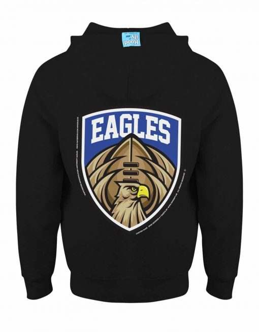 MANCHESTER EAGLES AMERICAN FOOTBALL - EARBUD ZIP-HOOD - (BACK) - BLACK