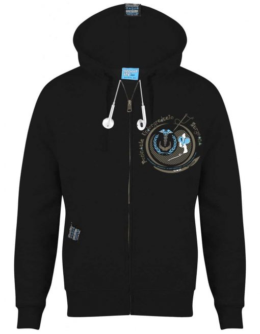 PENINSULA MEDICAL (2) - EARBUD ZIP-HOOD - (FRONT) - BLACK - HOODIFY.ME - CUSTOM HOODIES SCREEN PRINTED DESIGNS FEATURING - HIDDEN EARBUD IPHONE MP3 POCKET