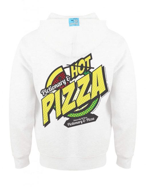 PIZZA - EARBUD ZIP-HOOD (BACK) - WHITE - HOODIFY.ME - CUSTOM HOODIES SCREEN PRINTED DESIGNS FEATURING - HIDDEN EARBUD IPHONE MP3 POCKET - JPG