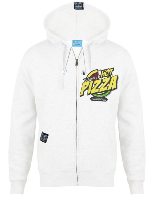 PIZZA - EARBUD ZIP-HOOD - (FRONT) - WHITE - HOODIFY.ME - CUSTOM HOODIES SCREEN PRINTED DESIGNS FEATURING - HIDDEN EARBUD IPHONE MP3 POCKET - JPG