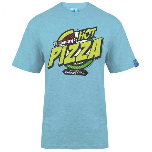PIZZA - T-SHIRT - (FRONT) - SKY BLUE - HOODIFY.ME HEAVYWEIGHT TSHIRT RINGSPUN SUPASOFT SUPER SOFT COTTON STAYTIGHT NECK TUFFNECK SEAM FAIRTRADE T-SHIRT