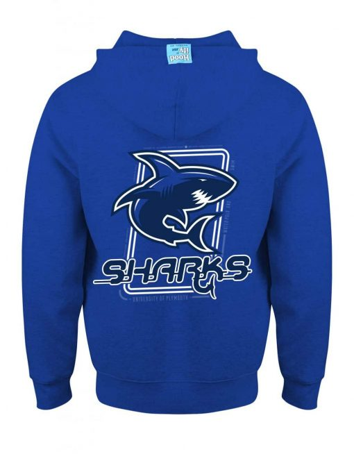 PLYMOUTH SHARKS - EARBUD ZIP-HOOD (BACK) - ROYAL BLUE - HOODIFY.ME - CUSTOM HOODIES SCREEN PRINTED DESIGNS FEATURING - HIDDEN EARBUD IPHONE MP3 POCKET - JPG