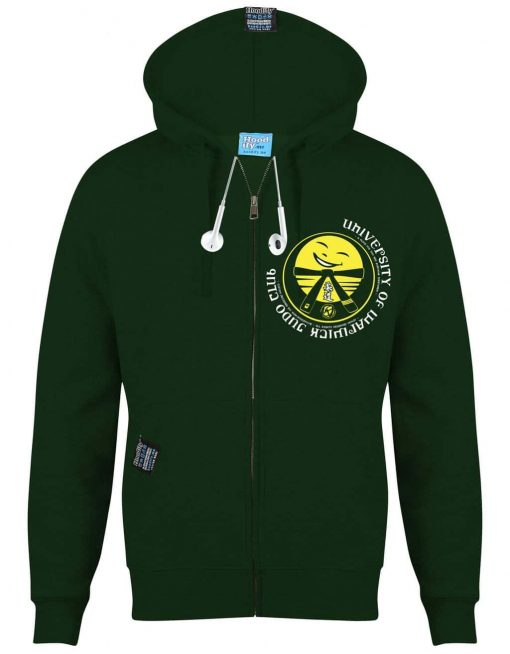WARWICK JUDO - EARBUD ZIP-HOOD - (FRONT) - FOREST GREEN - HOODIFY.ME - CUSTOM HOODIES SCREEN PRINTED DESIGNS FEATURING - HIDDEN EARBUD IPHONE MP3 POCKET - JPG