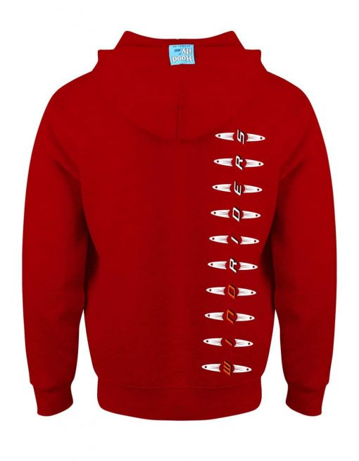 WINDRIDERS - EARBUD ZIP-HOOD (BACK) - POST BOX RED - HOODIFY.ME - CUSTOM HOODIES SCREEN PRINTED DESIGNS FEATURING - HIDDEN EARBUD IPHONE MP3 POCKET - JPG