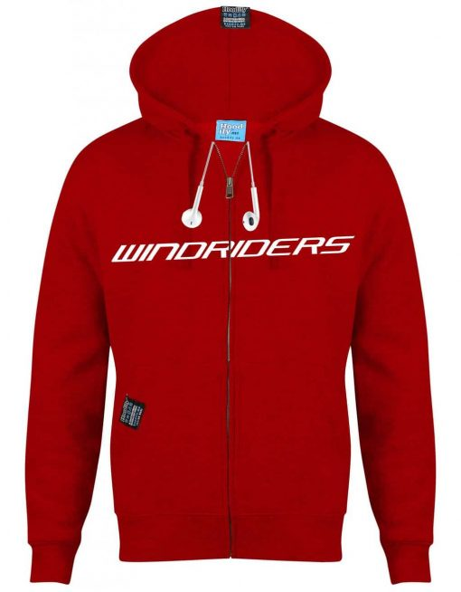 WINDRIDERS - EARBUD ZIP-HOOD - (FRONT) - POSTBOX RED - HOODIFY.ME - CUSTOM HOODIES SCREEN PRINTED DESIGNS FEATURING - HIDDEN EARBUD IPHONE MP3 POCKET - JPG